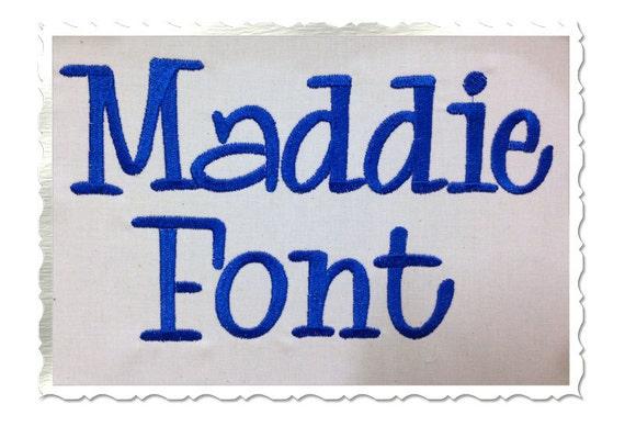Maddie Machine Embroidery Font Monogram Alphabet 3 Sizes