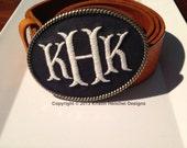 Kristin Henchel custom women's personalized monogram belt buckle - fish tale monogram