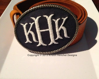 Kristin Henchel custom women's personalized monogram belt buckle - fish tale monogram