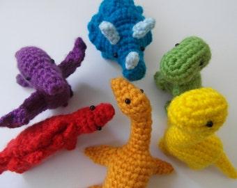 Rainbow dinosaurs e-book - PDF instant download - crochet instructions
