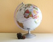 "Vintage Replogle Made in USA  12""  Platinum Classic Series Globe Matte Silver  Metal Stand / 13619"