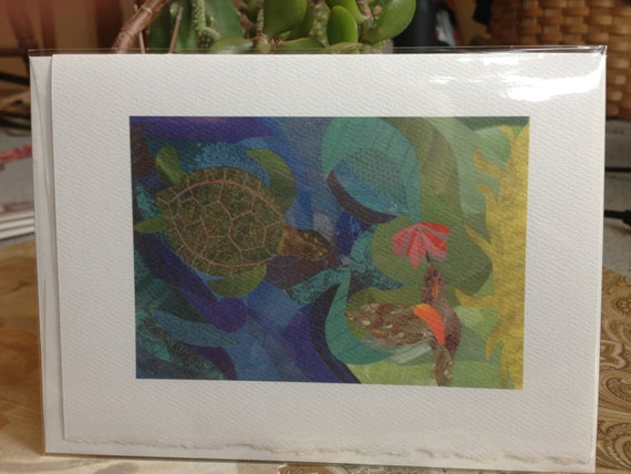 "Turtle and Hummingbird Note Card (Art Print) 5""x7"""