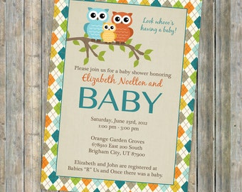 baby shower invitations with owl and argyle border, invitation with owls, gender neutral (Orange, Green, Yellow, and Teal Blue)