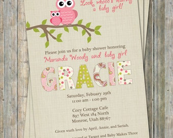 Paisley owl baby shower invitations, baby shower invitation with owls, Digital, Printable file