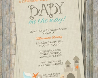 Amazing Beach Baby Shower Invitation, Baby Shower Invitation, Digital, Printable  File