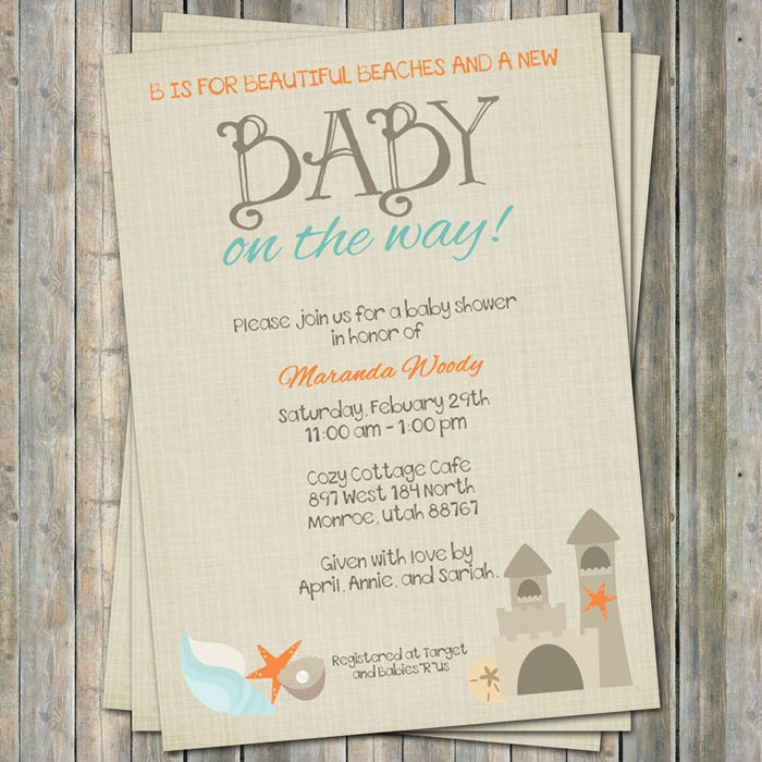 beach baby shower invitation baby shower by freshlysqueezedcards