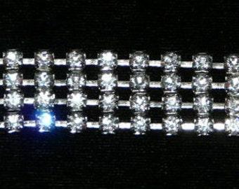 Vintage Wide Band Rhinestone Bracelet Silver Tone Metal Costume Jewelry Formal Evening Crystal Bling