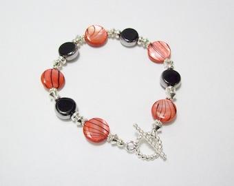 Red Zebra Striped Shell and Window Glass Bracelet