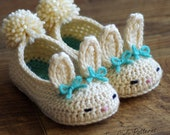 Toddler Bunny Slippers The Classic Bunny Slipper Crochet Pattern - Childrens shoe Sizes 4 - 9 - Number 214 Instant Download  kc550