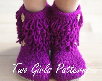 Furryluscious Women's Boots PDF crochet pattern -  Women's 5 - 11  - Pattern number 213 Instant Download kc550