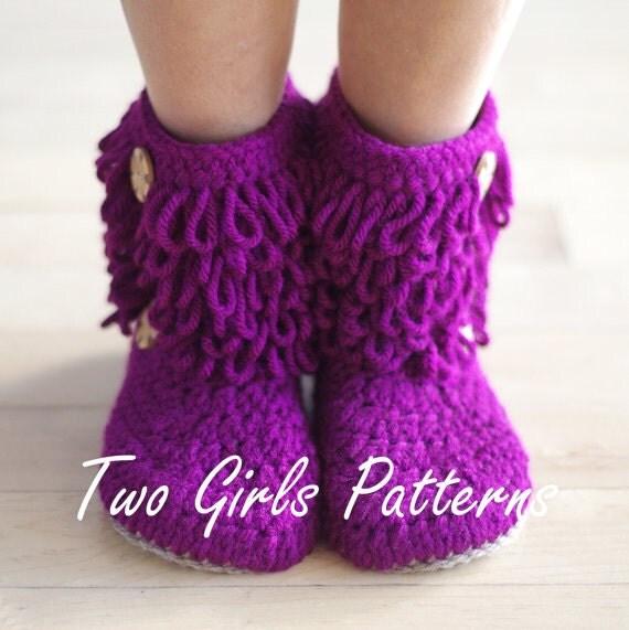 Furryluscious Women's Boots PDF crochet pattern -  Women's 5 - 11  - Pattern number 213 Instant Download K