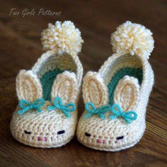 CROCHET PATTERN 204 Baby booties Bunny Slipper by ...  |Baby Bunny House Slipper Crochet Pattern