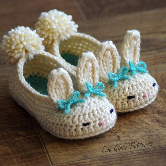 Малыш Кролик тапочки классический круглый год кролика тапочки крючком узор - детские Размеры обуви 4 - 9 - номер 214 мгновенная Загрузка