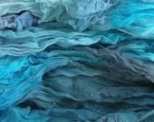 2m x fine silk gauze, chiffon  - Adriatic -   Geat for nuno felting