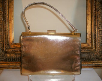 Vintage 1960's Gold Leather Handbag