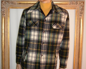 Vintage 1980's Sears Green Plaid Wool Jacket - Size 42