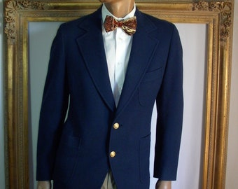 Vintage 1970's Larry Kane for Ruffles Wear Navy Blue Wool Blazer - Size 42