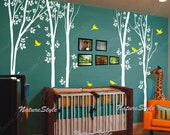 tree wall decals birds nature forest Vinyl wall decals wall decal baby nursery sticker children room decor wall mural-Tree with Flying Birds