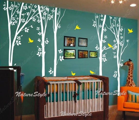 Tree wall decals birds nature forest vinyl wall decals wall for Appliqu mural autocollant