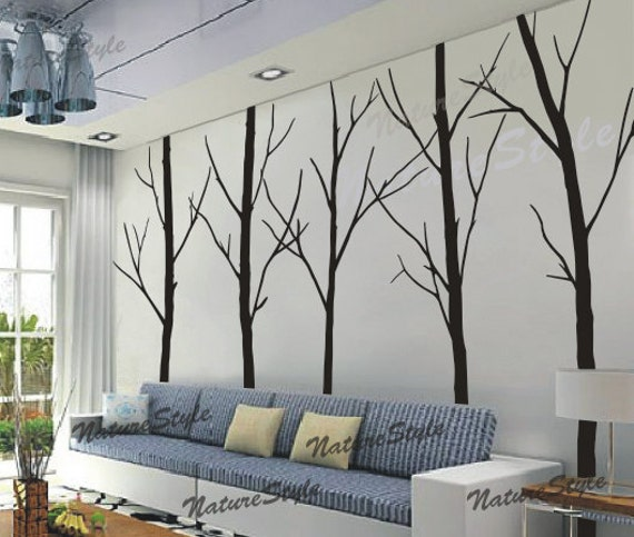 Tree Wall Decal Winter Trees Nature Forest Wall Decals Art Wall Decor  Nursery Wall Sticker Living Room Wall Mural Five Winter Trees Part 94
