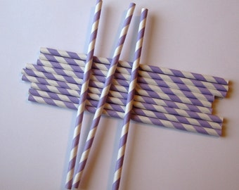25 Paper Lavender & White Striped Straws - Free Printable Straw Flags
