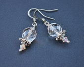 Silver Crystal Bead Drop Earrings