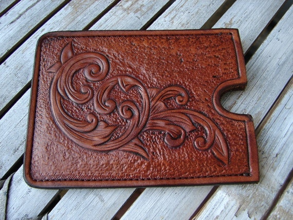 small/slim custom tooled leather slide pocket sleeve ID business cards credit cards cash money, flowing scroll