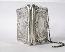 antique victorian silver purse. art nouveau floral sterling silver purse.