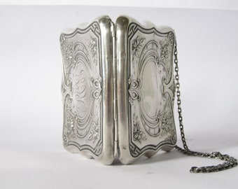 antique victorian silver purse. art nouveau floral sterling silver purse.