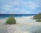50% OFF 28 x 36 oil painting seascape ocean blues greens sand clouds waves