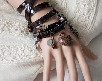 Leather Wrap Bracelet - Patten Leather Heart