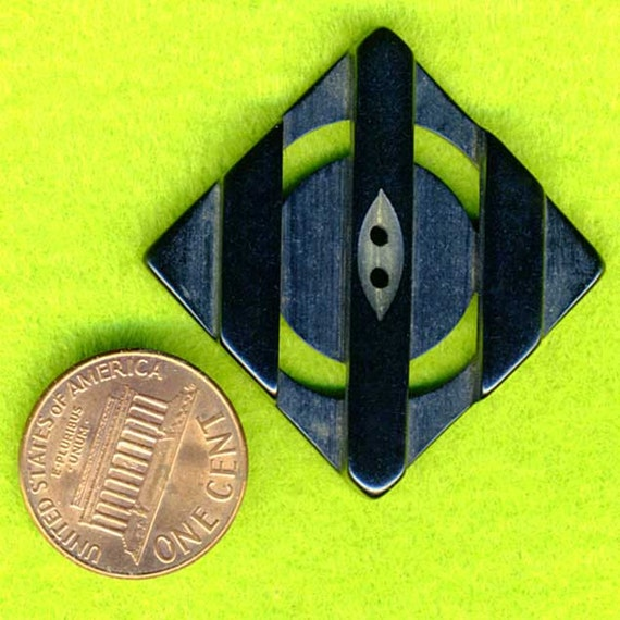 Vintage Pierced Carved Black Sewing Button Square Coat 1-1/8 inch 29mm