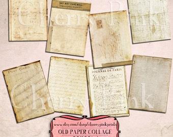 VINTAGE PAPER ephemera Digital collage sheet  8 paper designs, 2.5 x 3.5 supplies scrapbooking collage ephemera digital download