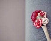 Red Grooms Buttonhole - Red Lotus Flower and Love Heart Button