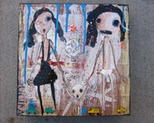 outsider modern pop folk mixed media painting on birch wood panel