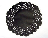 48  Black 4 inch paper doilies, round doilies, party supply, small paper doilies, paper craft supply, handmade doilies