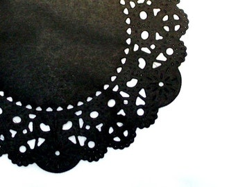 24 Black Paper Doilies- 4 inch, black and perfect for a Gothic Halloween