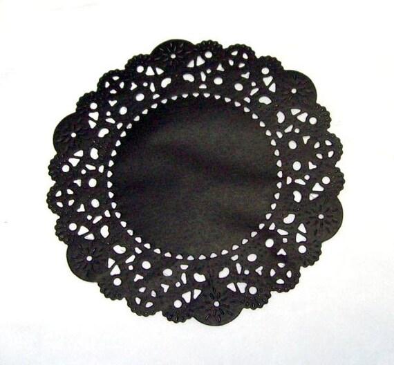 48  Black 4 inch paper doilies, round doilies, party supply, small paper doilies, paper craft supply, handmade doilies