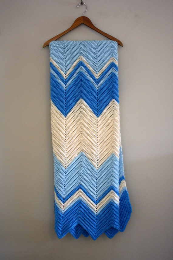 """Blue and white Afghan Chevy Stripes  65""""  x  72"""""""
