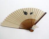 Sensu Japanese folding fan -Eggplant OR Pink Flower-