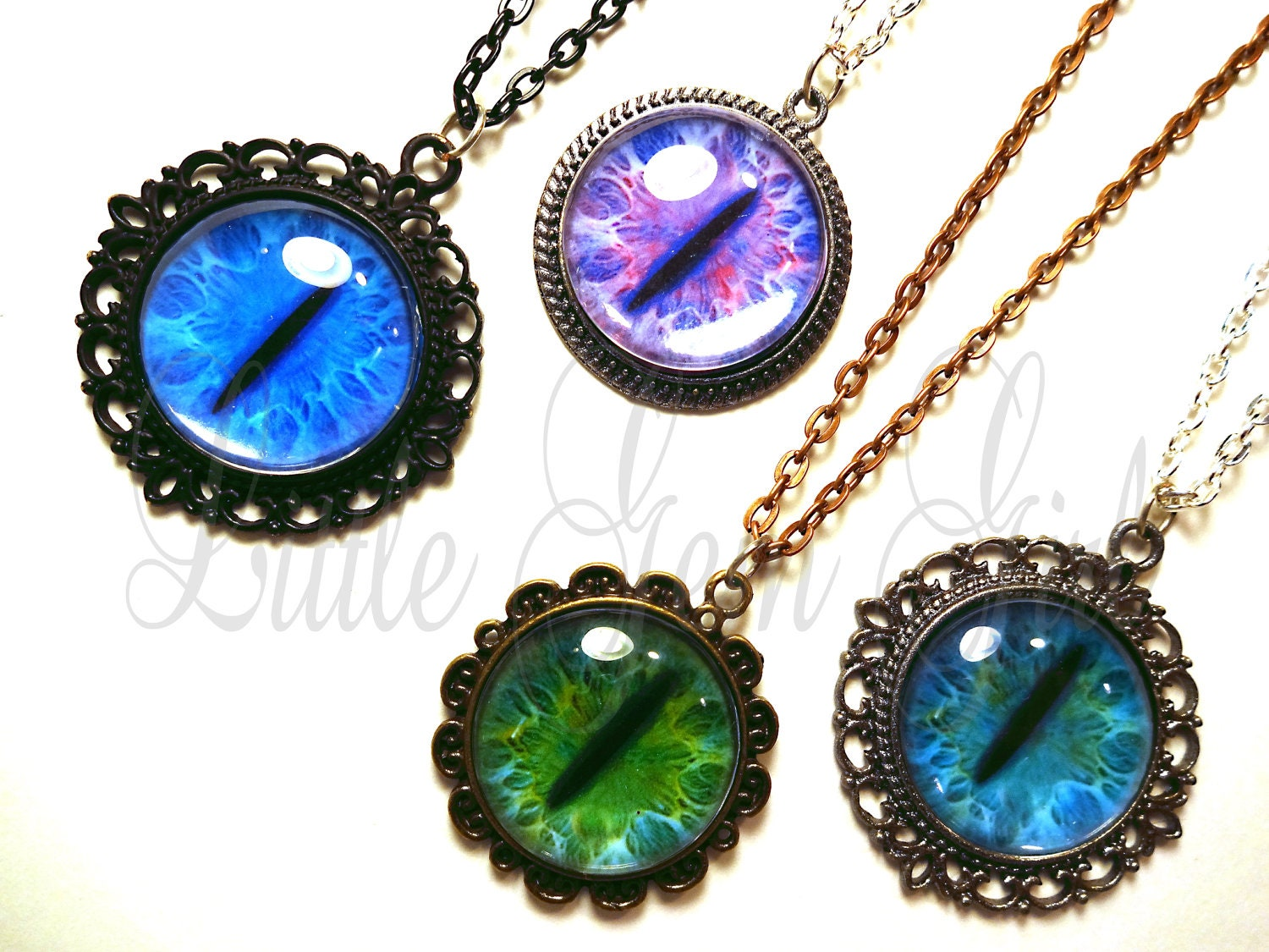 cat eye necklace many custom options realistic by
