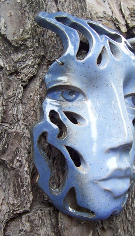 Blue Raindrop Face Wall Art Hanging Ceramic Mask With Cut Out