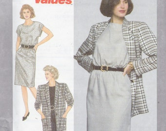 Simplicity 9404 Misses'/Miss Petite Dress and Unlined Jacket Pattern, UNCUT, Size All, Size 8-10-12-14-16-18