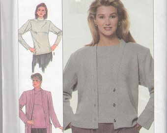 Simplicity 8303 Misses' Cardigan in Two Lengths and Tops Pattern, UNCUT, SIze 6-8-10-12