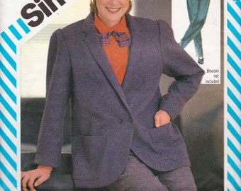"""Simplicity 6063 Misses' Pants and Loose-Fitting Unlined Jacket Pattern, UNCUT, Size 14, Bust 36"""", Pants Fly Front, Career Wear, Vintage 1983"""