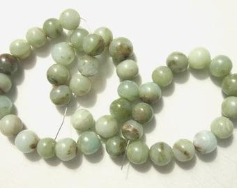 SALE peruvian blue opal round 9mm 4 beads