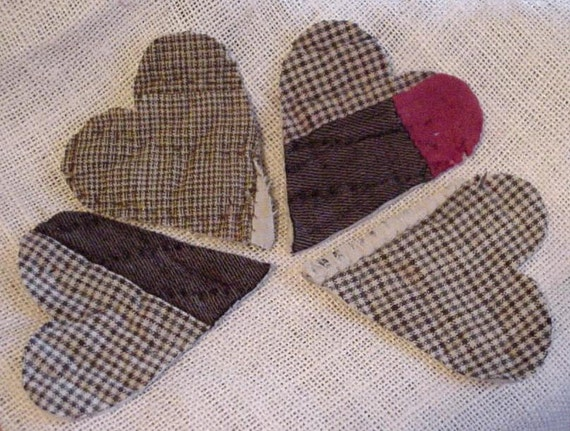 Wool Patchwork Heart Appliques Vintage Primitive Folk Art Cutter Quilt Shabby Homespun Embellishments Crafting Upcycled itsyourcountry