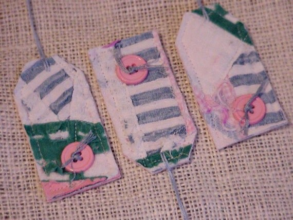Vintage Quilted Tags Patchwork Tattered Prim Fabric Cutter Quilt Everyday All Occasion Gift Tags Hang Tags Tie Ons Upcycled itsyourcountry