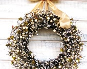 GOLD & ANTIQUE WHITE Berry Wreath-Spring Door Wreath-Wedding Decor-Front Door Wreath-Housewarming Gift-Scented Wreaths-Choose Scent- Ribbon