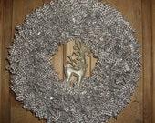 Christmas Wreath - Reindeer - Gold Wreath - Holiday Wreath -Large Fabric Wreaths